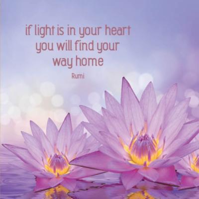 Eco wenskaart blanco 'If light is in your heart' Rumi – dubbel met enveloppe