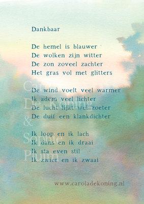 Kaart met prachtig gedicht over dankbaarheid van Carola de Koning