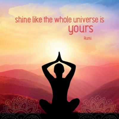 Eco wenskaart blanco 'Shine like the whole universe is yours' (Rumi) – dubbel