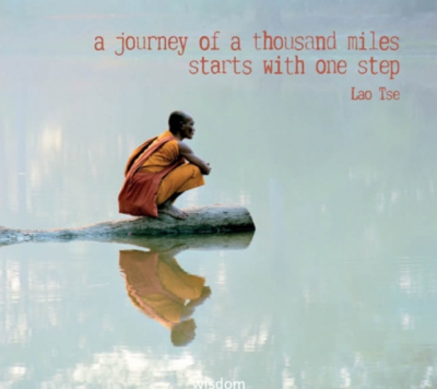 Eco wenskaart blanco 'A journey of a thousand miles starts with one step - Lao Tse' – dubbel met enveloppe