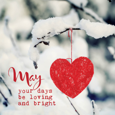 Eco Kerstkaart 'May your days be loving and bright' – dubbel met enveloppe
