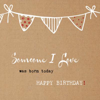 Eco verjaardagskaart blanco 'Someone I love' – dubbel met enveloppe