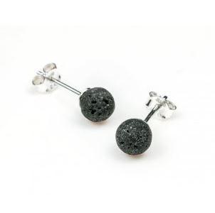 Echt zilveren oorbellen lavasteen - moed & wilskracht