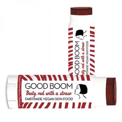 Good Boom rode lippenbalsem met aardbei en biet - vegan, fairtrade & 100% natuurlijk